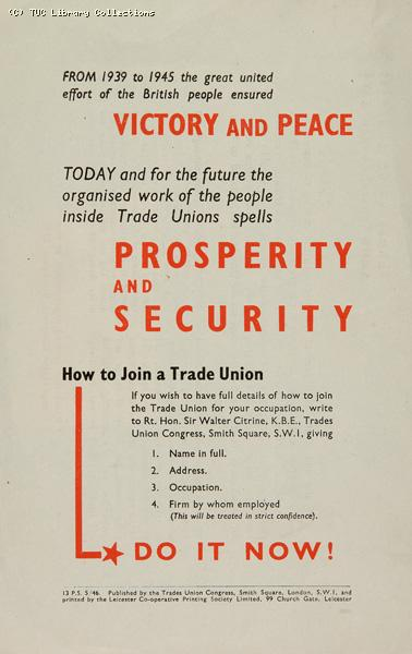 Victory and peace - TUC leaflet, 1946