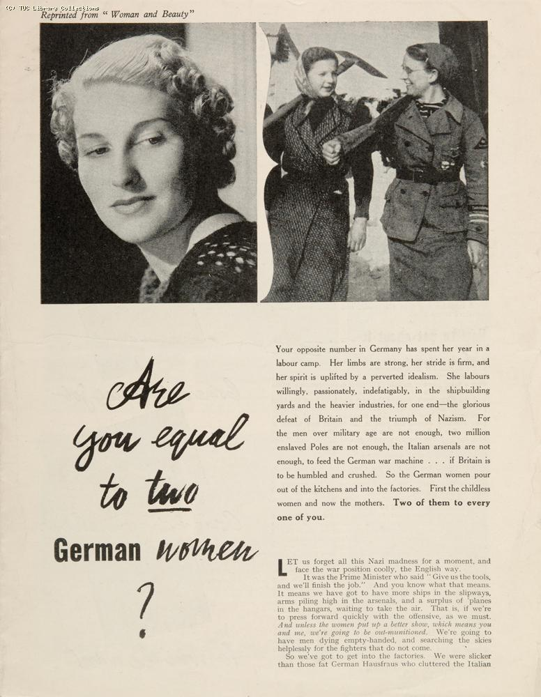 'Are you equal to two German women?' 1941