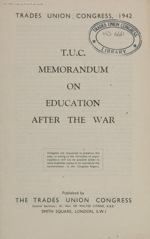 TUC Memorandum on Education after the War, 1942