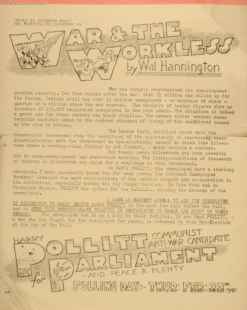 Harry Pollitt election leaflet, 1940