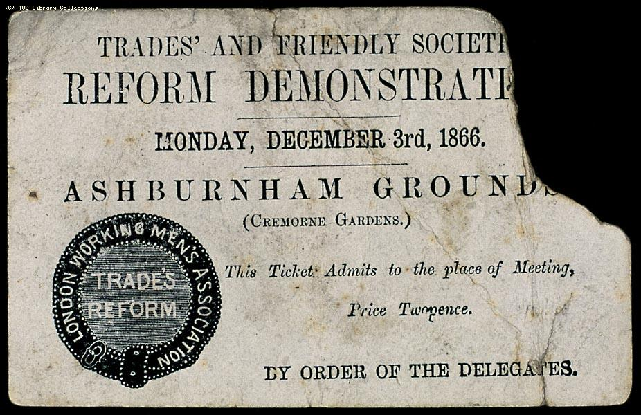 Ticket to Reform Demonstration, London 1866