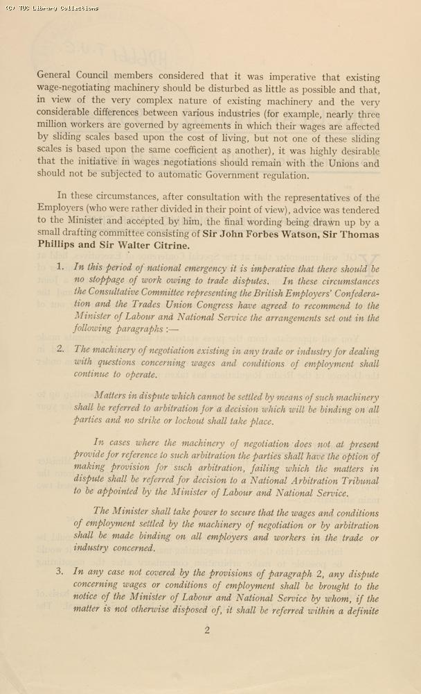'Labour supply during war-time' - TUC circular, 1940