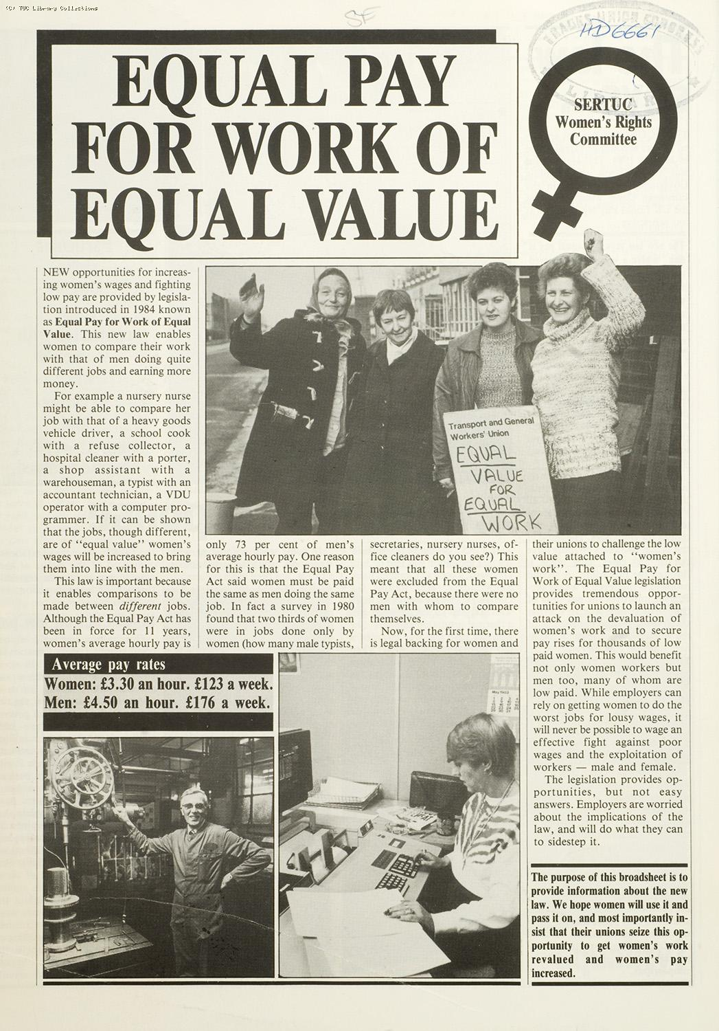 Equal pay for work of equal value, 1985