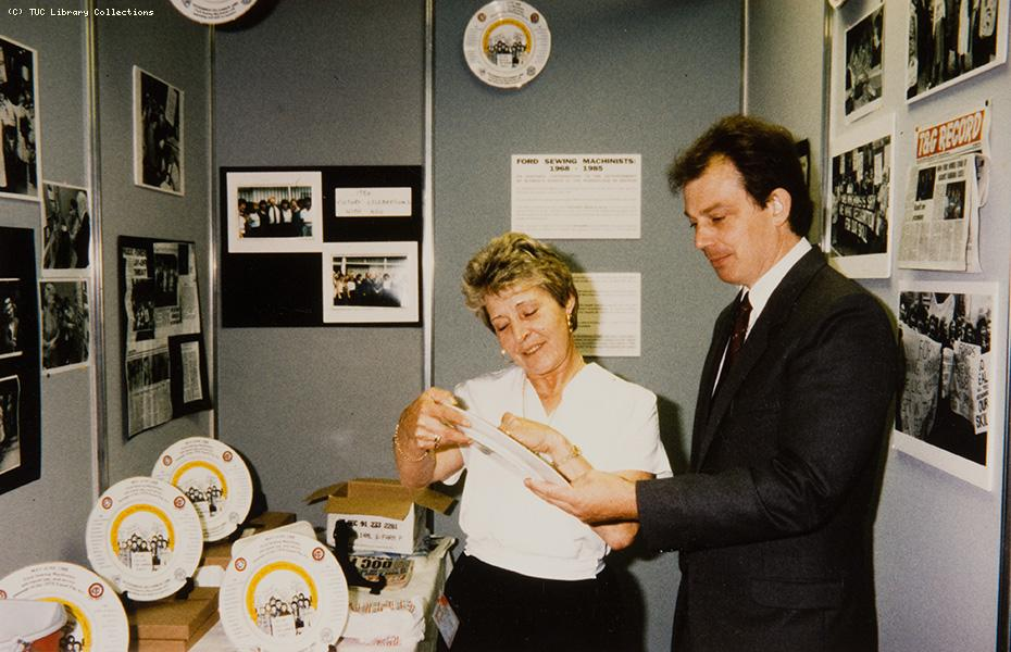 Tony Blair visits Ford sewing machinists' strike exhibition, 1990s