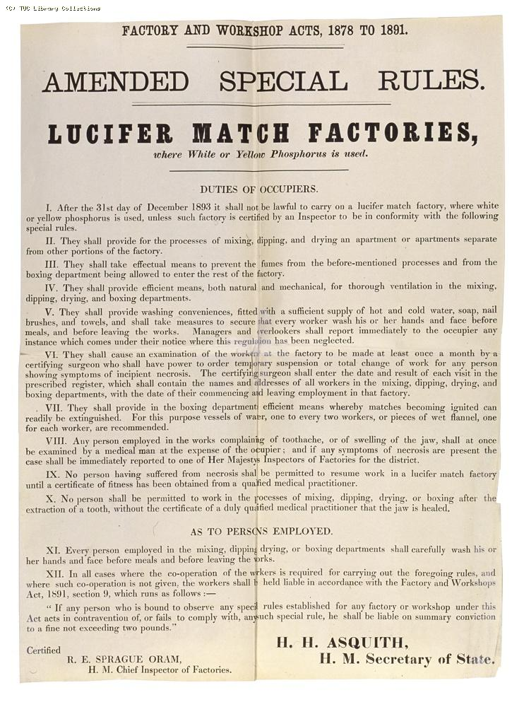 Factory and Workshop Acts 1878 to 1891, lucifer match factories
