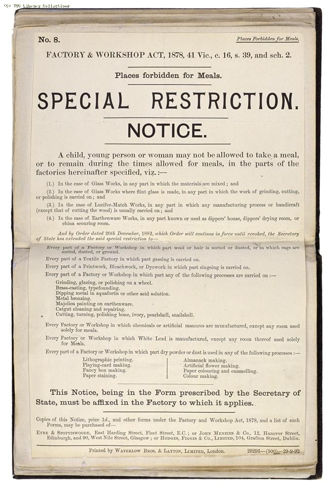 Factory and Workshops Act 1878, restriction notice