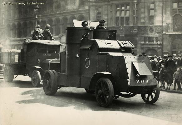 Food lorry with an armoured car escort, General Strike, 1926