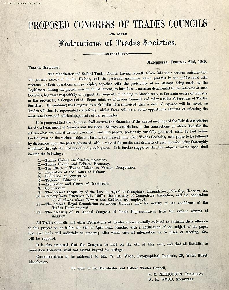 Circular calling the first Trades Union Congress, 1868