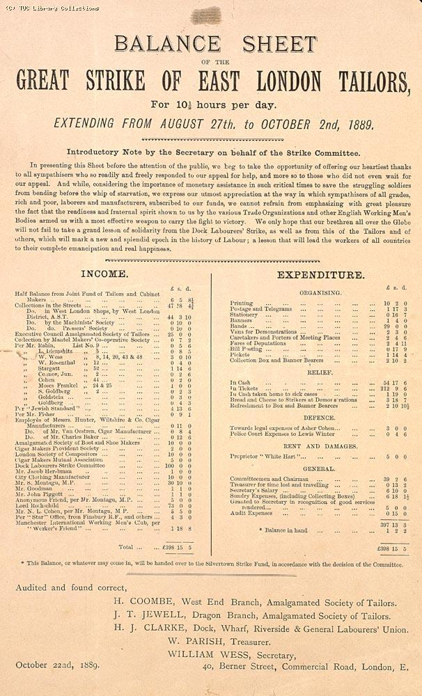 Balance sheet of the great strike of East London tailors, 1889