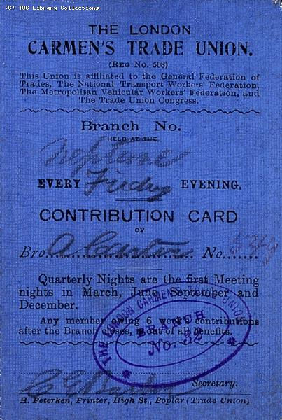 London Carmen's Trade Union contribution card 1911